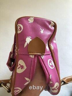 Vintage Playboy Bunny Signature Pink Tan Hand Bag Purse Hugh Hefner Rare