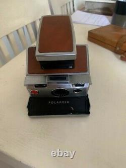 Vintage RARE Polaroid SX-70 Land Camera Chrome with Tan Leather Includes Case