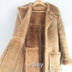 Vintage Real Sheepskin Leather & Shearling Coat Unisex Jacket Tan s/m 70s-80