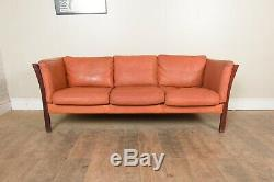 Vintage Retro Danish Tan / Cognac Leather 3 Seater Sofa by Stouby