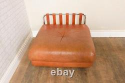 Vintage Retro Pair of Chrome and Tan Leather Armchairs