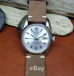 Vintage Rolex Oyster Perpetual Datejust 3035 Silver Dial 18k Gold Bezel Watch