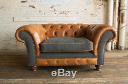 Vintage Rustic Tan Leather & Dark Grey Wool Chesterfield Snuggle Chair, Love
