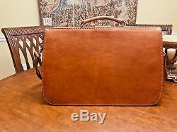 Vintage S. American Tan Saddle Leather Attorney-Doctor Briefcase / Messenger Bag