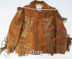 Vintage Schott Bros. Sz 48 XL Rancher Suede Fringe Jacket Coat Tan Brown Men's