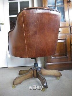 Vintage Semi-Aniline Tan Leather Captain's Desk Chair