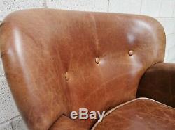 Vintage Sofa Company Elston Cerato Tan Brown Leather Small Cosy Armchair