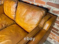 Vintage Stouby Danish 1970 Tan Coloured Two seater Mogensen Style Leather Sofa