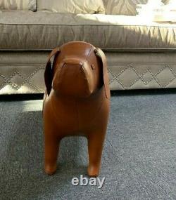 Vintage Style Handmade Tan Brown Leather Dog Character Animal Footstool Gift