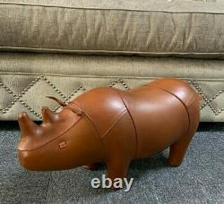 Vintage Style Handmade Tan Brown Leather Rhino Character Animal Stool Footstool