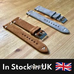 Vintage Suede Leather Watch Strap Replacement 20mm Tan Grey Quick Release