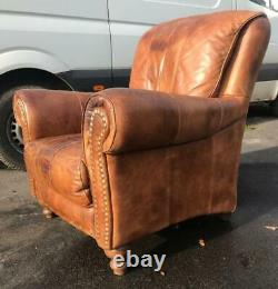 Vintage Tan 100% Real Leather Arm Chair Fireside Chair. Really Soft & So Comfy
