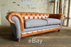 Vintage Tan Brown Leather & Grey Wool 3 Seater Chesterfield Sofa, Couch, Settee