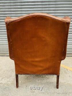 Vintage Tan Brown Leather Laura Ashley Denbigh chair