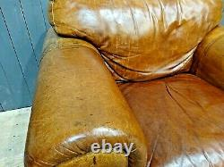 Vintage Tan Distressed Leather Armchair