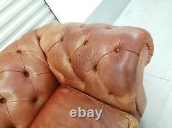 Vintage Tan Leather Chesterfield Sofa