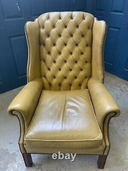 Vintage Tan Leather Chesterfield Wing Back Armchair