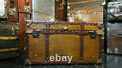 Vintage Tan Leather Coffee Table Chest Trunk with Antique leather Trim