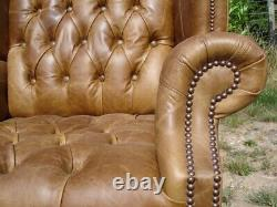Vintage Tan Leather Hand Made Wing Back Chair