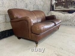 Vintage Tan Leather Howard Style Club Sofa