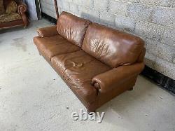 Vintage Tetrad Cordoba John Lewis Chesterfield Aged Tan Leather Club Sofa