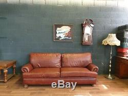 Vintage Tetrad Cordoba John Lewis Chesterfield Chestnut Tan Leather Club Sofa 1