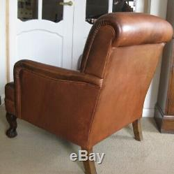 Vintage Tetrad Semi-Aniline Tan Leather Armchair