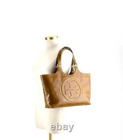 Vintage Tory Burch Bombe Glazed Leather Handbag Zip Top Tote in Luggage tan-$550