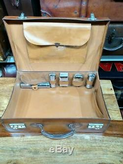 Vintage fitted honey tan leather overnight suitcase attache briefcase case
