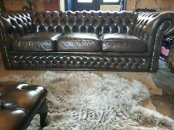 Vintage leather chesterfield sofa chestnut brown on gold tan