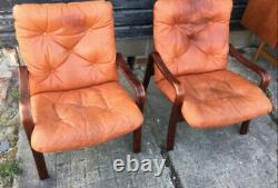 Vintage retro antique Danish chair armchair mid century tan leather rosewood