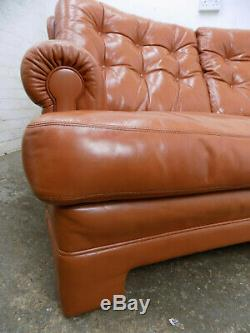 Vintage, retro, curved, large, tan, two seat, leather, button back, sofa, settee, 2seat