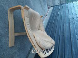 Vintage retro mid century tan leather Danish armchair chair Ake friybytter
