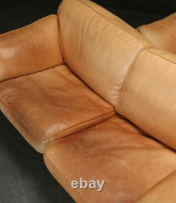 Vintage retro mid century tan light leather 3 seater sofa couch Danish Skalma