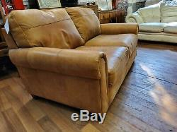 Vintage tan French Art Deco club antique Leather Sofa 2 seater