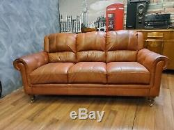 Vintage tan French Art Deco club antique Leather Sofa 3 seater 2