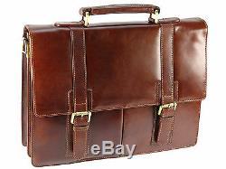 Visconti X Large Vintage Collection Leather Briefcase Shoulder Bag Tan VT6