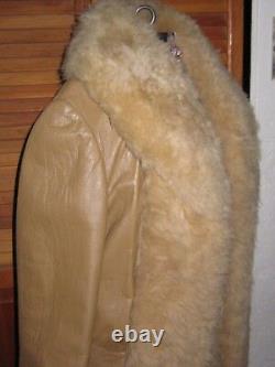 Vtg 70's Shearling Leather Coat Tan Fur Cuffs Boho Hippie Open Front Xs Woweee