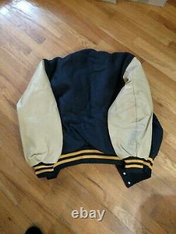 Vtg DELONG Varsity Bomber Jacket Black Wool Tan Leather Sleeves Gold trim USA
