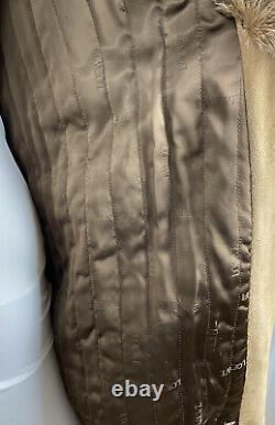 Vtg LOEWE Tan Suede Leather Real Fox Fur Trench Coat Saks Potts