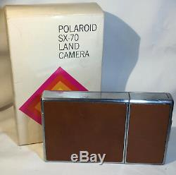 Vtg Polaroid SX-70 Land Camera Folding Chrome Tan Leather Instant Camera withBox