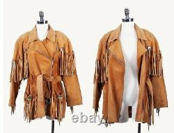 Vtg Suede Leather Western Fringe Concho Leather Asymmetrical Jacket by Cache Tan