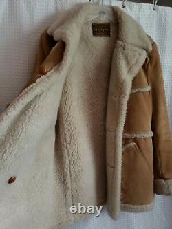 Wellington Tan Suede Leather Sherpa Coat Barn Jacket Men's Size 40 R Vintage USA