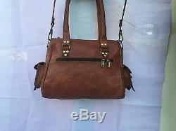 Women New Handmade Natural Tan Pure Goat Leather Vintage Messenger Bag Purse