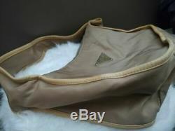 Women's Vintage Vela Authentic Nylon Prada Tan Shoulder Handbag W Leather Trim