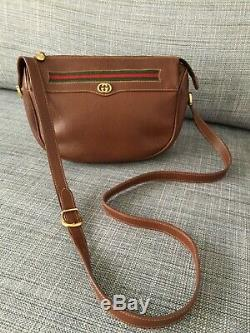 Womens 100% Vintage Authentic GUCCI Tan Leather Crossbody Shoullderbag