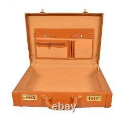 Zint Genuine Leather Men's Hard Briefcase Attache Vintage Retro Tan Luggage Case